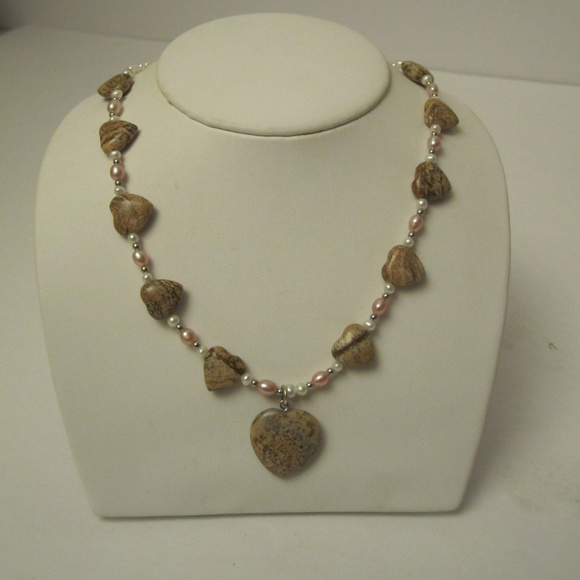 Jasper Heart and Pretty Pearl Necklace
